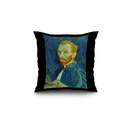 Self-Portrait - Masterpiece Classic - Artist: Vincent van Gogh c. 1889 (18x18 Spun Polyester Pillow, Black Border)