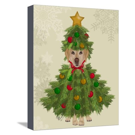 Yellow Labrador, Christmas Tree Costume Stretched Canvas Print Wall ...