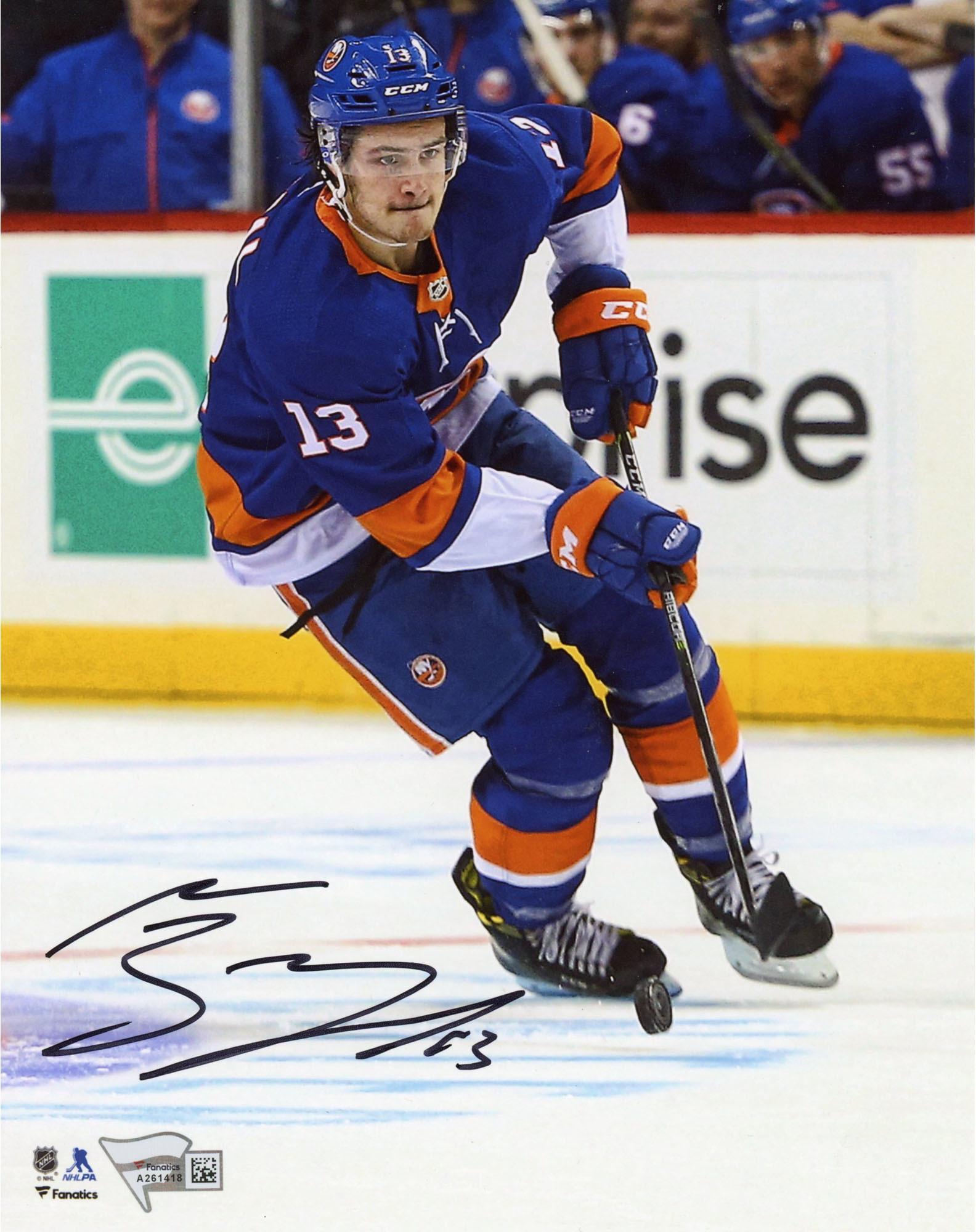 "Mathew Barzal New York Islanders Autographed 8"" x 10"" Blue Jersey Skating Photograph Fanatics Authentic... by Fanatics Authentic"