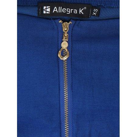 Unique Bargains Women's Sweetheart Neckline Exposed Zipper Front A-Line Dress Blue 18 - image 2 of 7