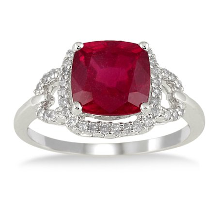 3.65 Carat Cushion Cut Ruby and Diamond Ring in 10K White Gold (Ruby Cushion Cut)