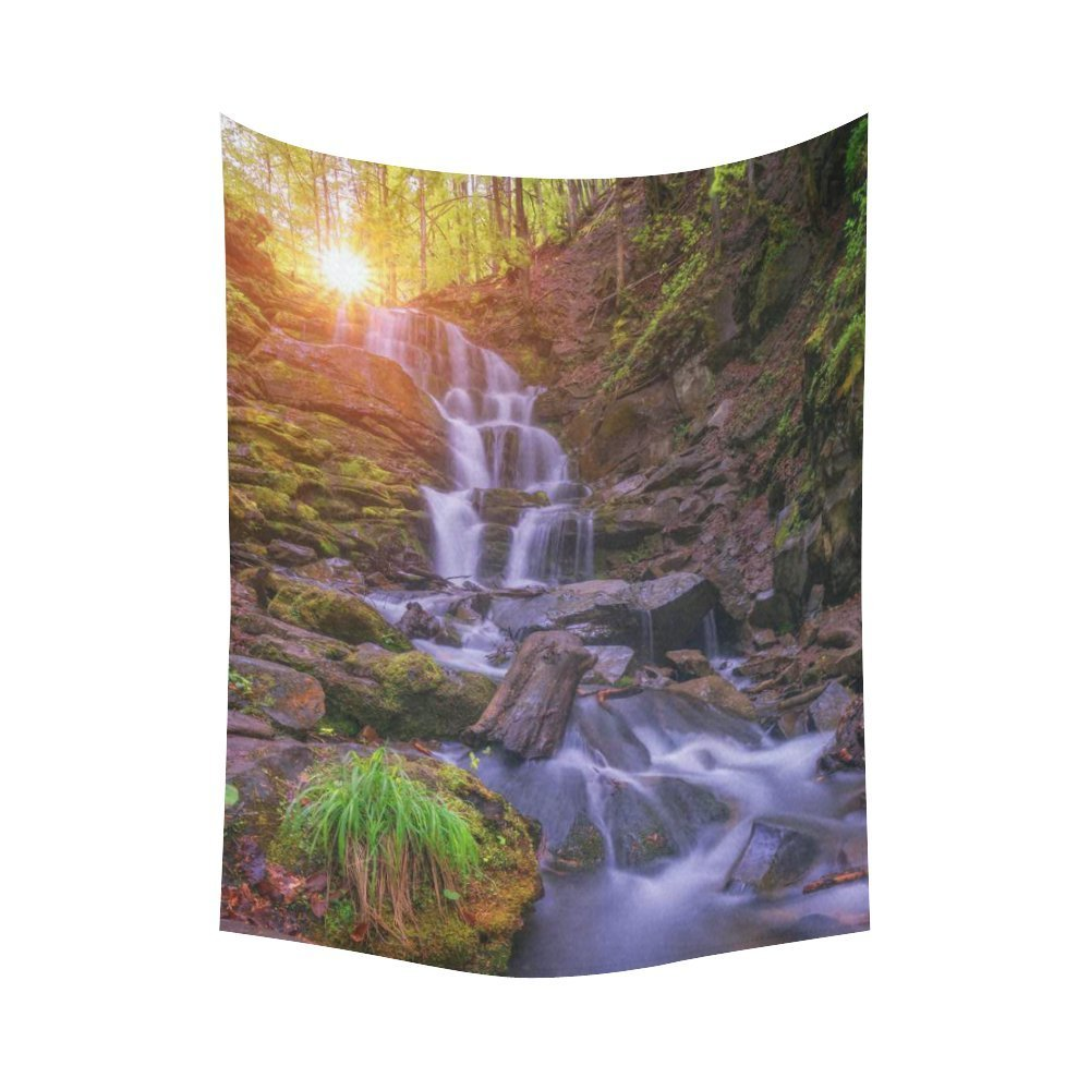 GCKG Summer Sunrise Mountain Stream Waterfall Tapestry Wall Hanging Wild Forest Landscape Wall Decor Tapestry 51x60 Inches - image 2 de 2