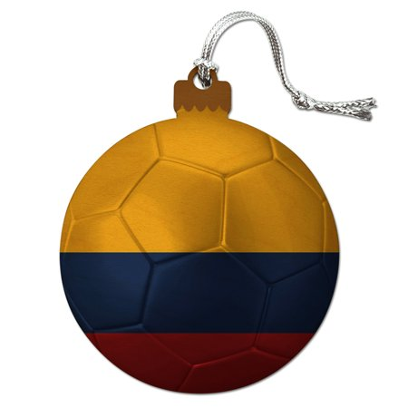 Colombia Flag Soccer Ball Futbol Football Wood Christmas Tree Holiday Ornament