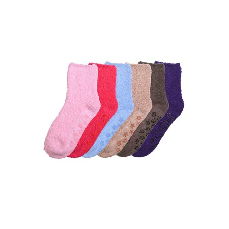 6 Pair of Women Plush Fuzzy Soft Cozy Slipper Socks Warm - Plain