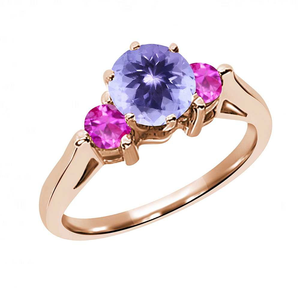 0.62 Ct Round Blue Tanzanite Pink Sapphire 18K Rose Gold 3-Stone Ring by