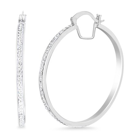 Womens White Sparkling Round Hoop Earrings made with Swarovski Crystals - Ladie Swarovski Crystal
