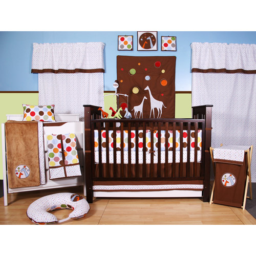 Bacati - Baby and Me Giraffe Multicolor 10pc Unisex Nursery-in-a-Bag Crib Bedding Set with Bumper Pad for US standard Cribs