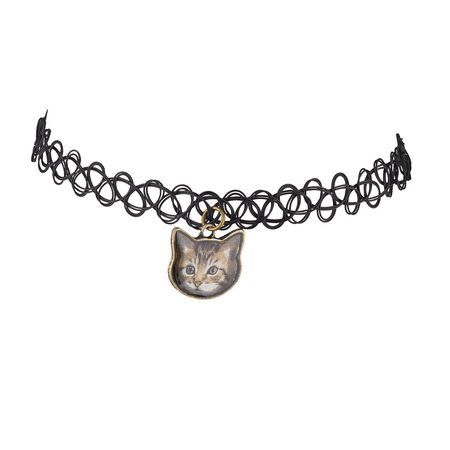 Lux Accessories Black Tattoo Graphic Cat Kitten Meow Choker - Cat Choker