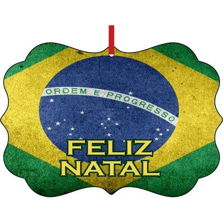 Flag Brazil Feliz Natal Brazilian Grunge Flag Elegant Semigloss Aluminum Christmas Ornament Tree Decoration - Unique Modern Novelty Tree Décor Favors - Brazil Decorations