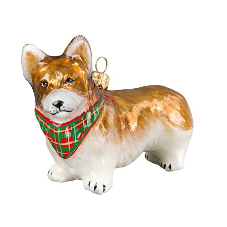 pembroke welsh corgi standing dog with bandana polish glass christmas ornament - Corgi Christmas Ornaments