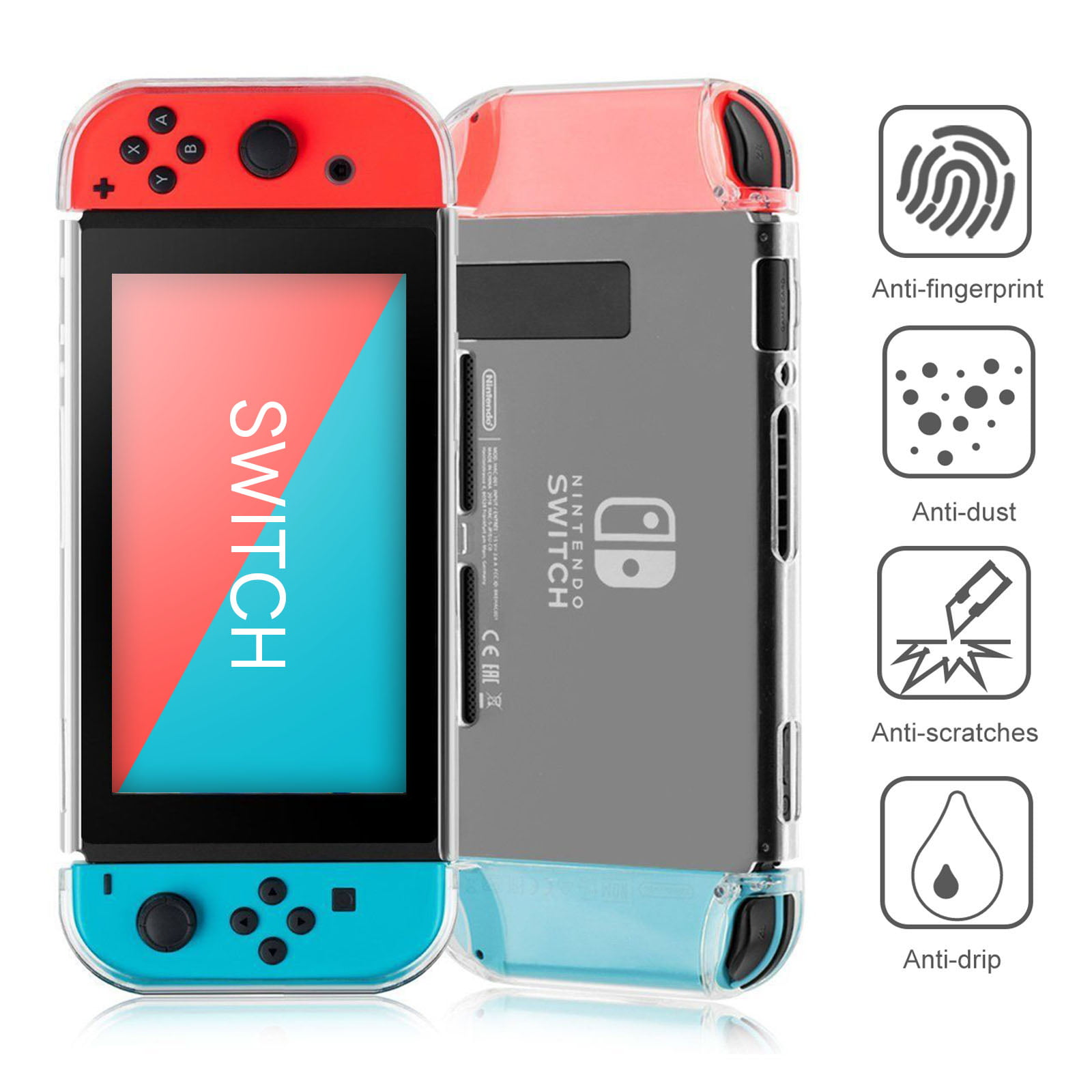 reputable site 92fe2 9cdc9 TSV Transparent Clear Shockproof Protective Hard Shell Case Cover Skin for  Nintendo Switch