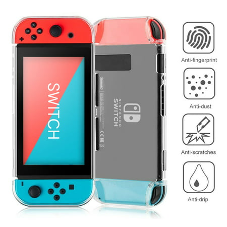 TSV Transparent Clear Shockproof Protective Hard Shell Case Cover Skin for Nintendo Switch Critic Aid Skin Paste Case