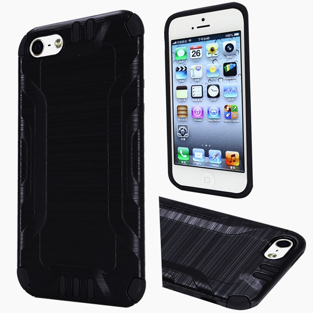 Insten Hard Hybrid Rubberized Silicone Cover Case For Apple iPhone 5/5S/SE - Black