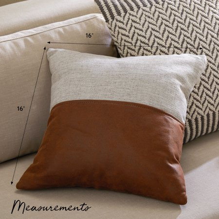 MoDRN Industrial Mixed Material Decorative Square Throw Pillow, 16