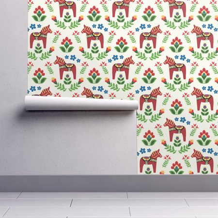 Removable Water-Activated Wallpaper Dala Horse Dala Horse Red Green Blue White ()
