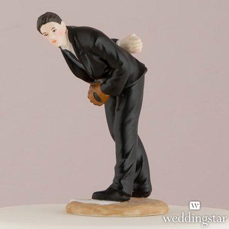 Weddingstar 8662 Groom Pitching Baseball Cake Topper, Groom Only (Baseball Cake Toppers)