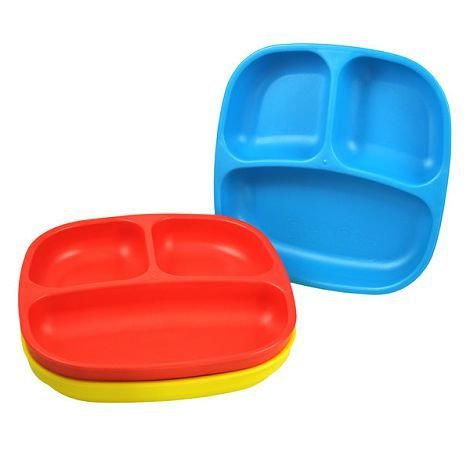 Re-Play 3 Pack Divided Plates - Primary Colors