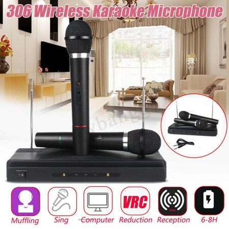 - 2 x Mic Professional Wireless Microphone System Dual Handheld KTV Karaoke Cordless Receiver