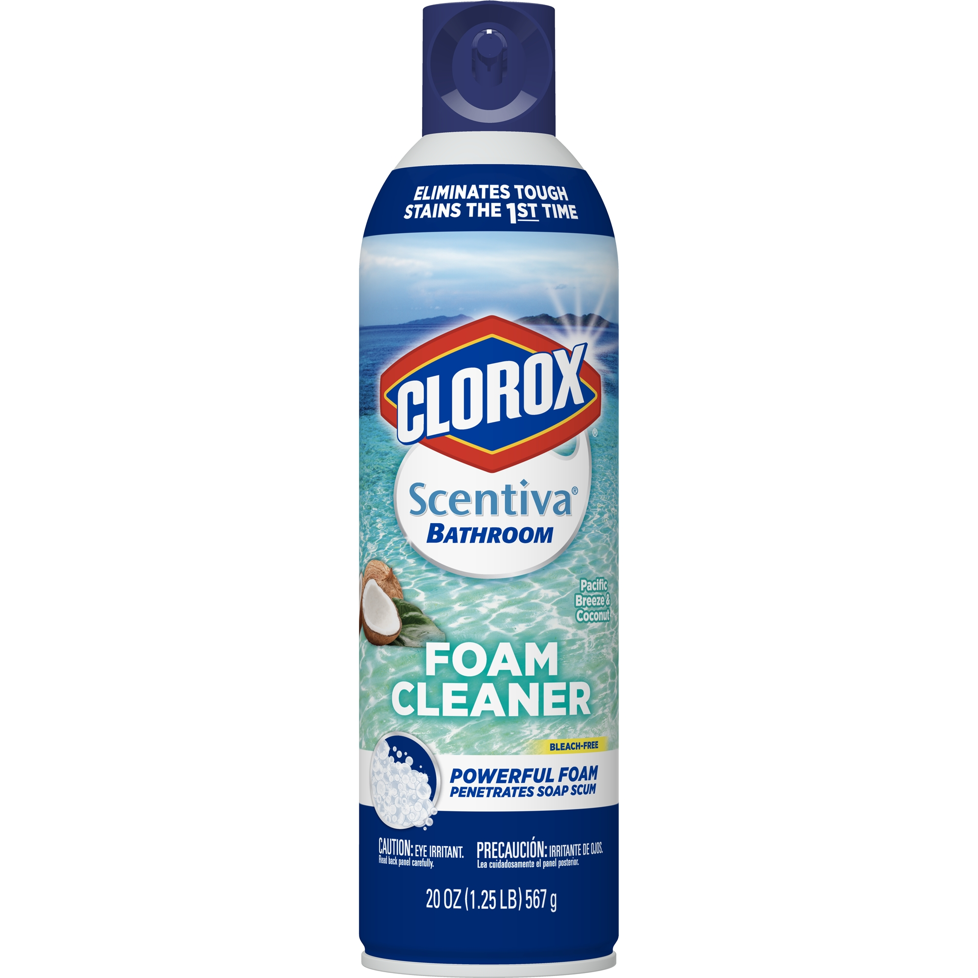 Clorox Scentiva Bathroom Foam Cleaner - Foaming Aerosol Multi-Surface Cleaner -Pacific Breeze & Coconut - 20 oz