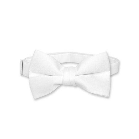 Vesuvio Napoli BOY'S BOWTIE Solid WHITE Color Youth Bow Tie - White Bowtie