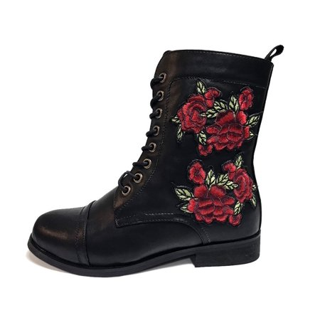 Rose Embroidered Combat Boot - US: Womens 7 ()