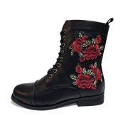 Rose Embroidered Combat Boot - US: Womens 7