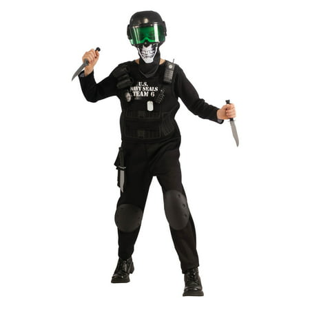 Black Team 6 Kids Costume - Long Black Hair Costume
