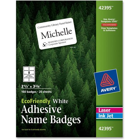 Inkjet Name Badge Labels (Avery EcoFriendly Adhesive Name Badge Labels, 2 1/3 x 3 3/8, White,)
