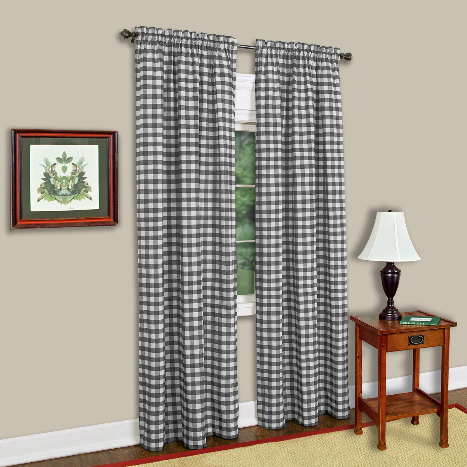 achim com home kitchen window white furnishings and x panel curtain buffalo dp curtains check amazon inch checkered black