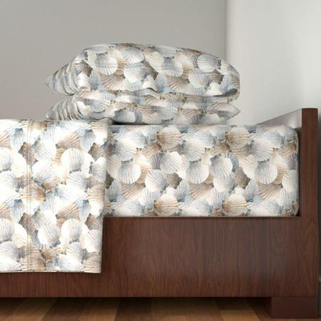 Beach Ocean Nautical Coastal Conch 100% Cotton Sateen Sheet Set by Roostery