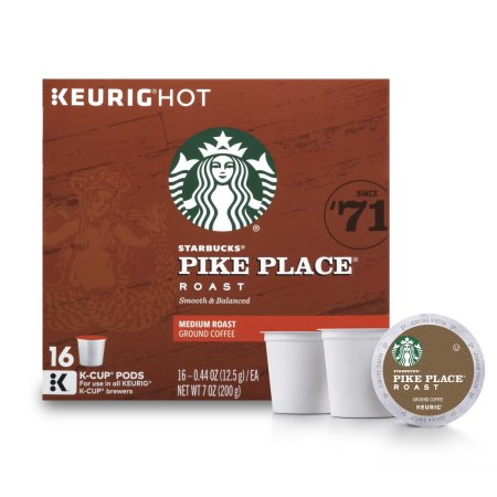 (4 Pack) Starbucks Pike Place Roast Medium Roast Single Cup Coffee for Keurig Brewers, 1 Box of 16 (16 Total K-Cup Pods)