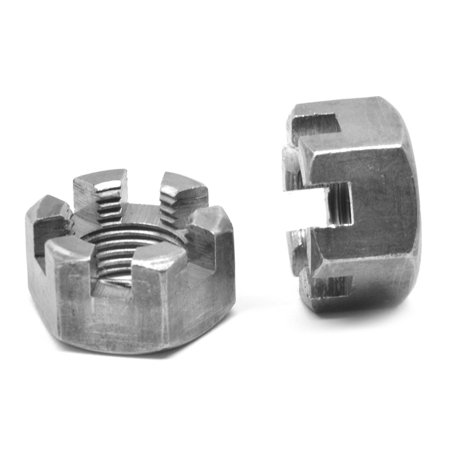 "3/8""-24 Fine Thread Grade 2 Slotted Finished Hex Nut Low Carbon Steel Plain Finish Pk 100"