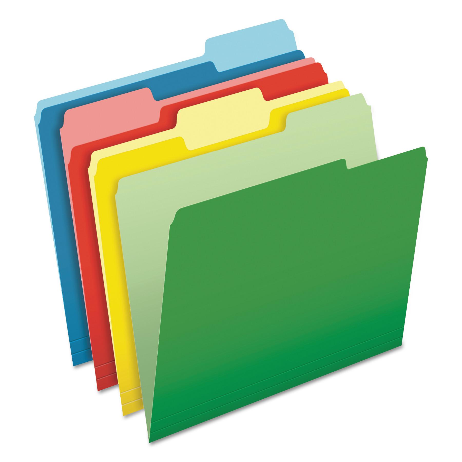 Pendaflex CutLess File Folders, 1/3 Cut Top Tab, Letter, Assorted, 100/Box -PFX48440