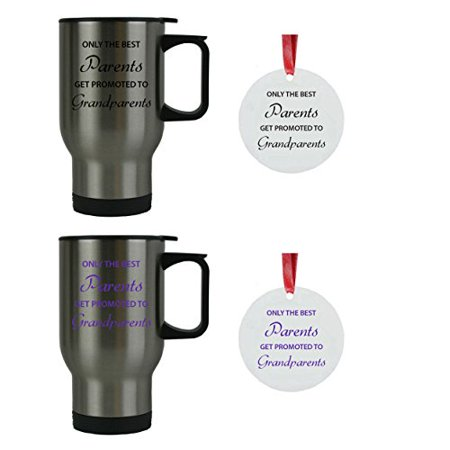Only the Best Parents Get Promoted to Grandparents 14 oz Stainless Steel Travel Coffee Mugs Bundle with 3-inch Aluminum Christmas Ornaments (Black, Purple) - Great for Dads, (Best Adhesive For Aluminum To Steel)