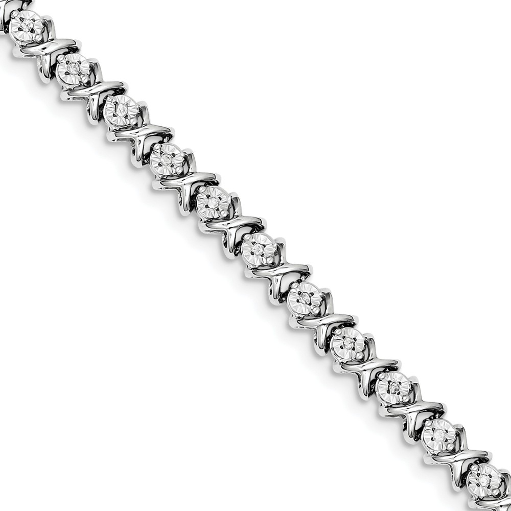 "925 Sterling Silver (07.25cttw) Diamond X Bracelet 107"" (7in x 6mm) by"