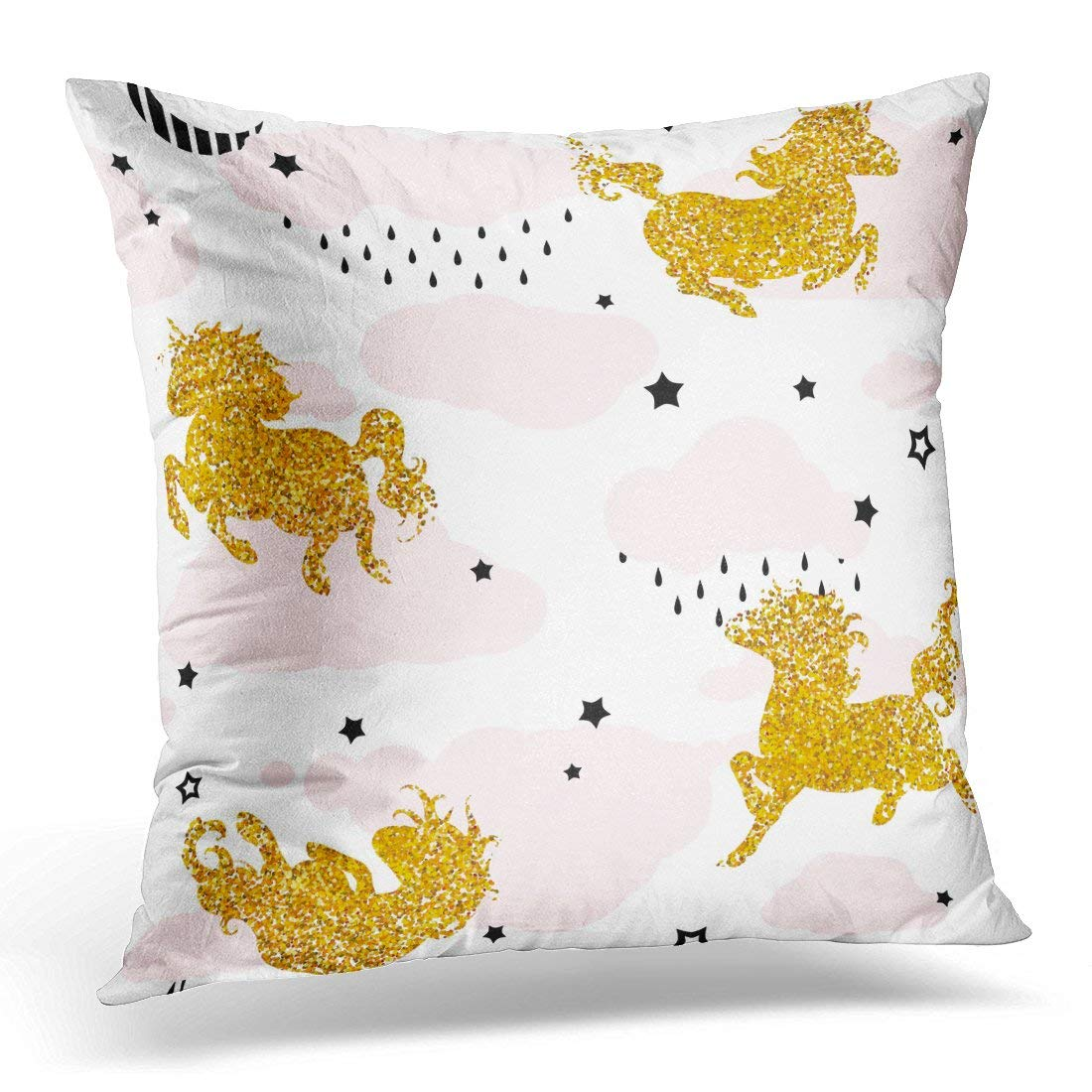 CMFUN Patterns with Cute Baby Unicorns Happy Birthday Children Colorful Night Sky with Stars Clouds Gold Doodle Pillow Case Pillow Cover 18x18 inch