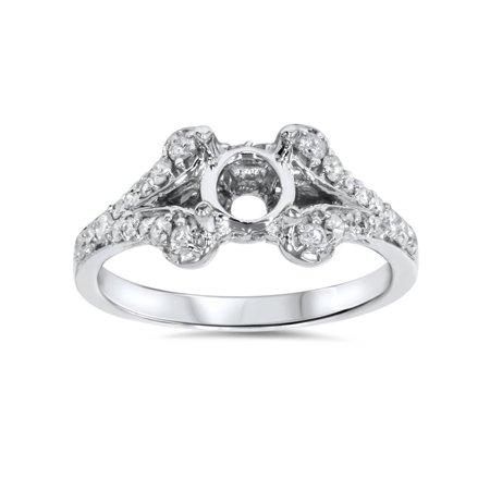 - 1/3ct Diamond Semi Mount Engagement Ring Setting 14K