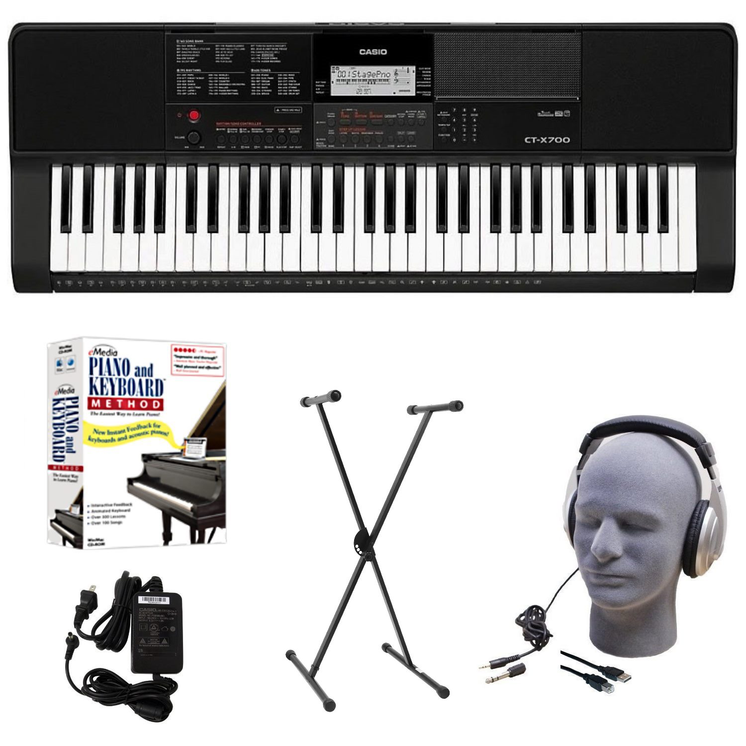 Casio CT-X700 EDP Educational Keyboard Pack with Power Supply, Stand, Headphones, USB Cable, and Instructional Software