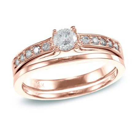 Auriya  14K Rose Gold 1 2 Ct Tdw Round Diamond Bridal Set