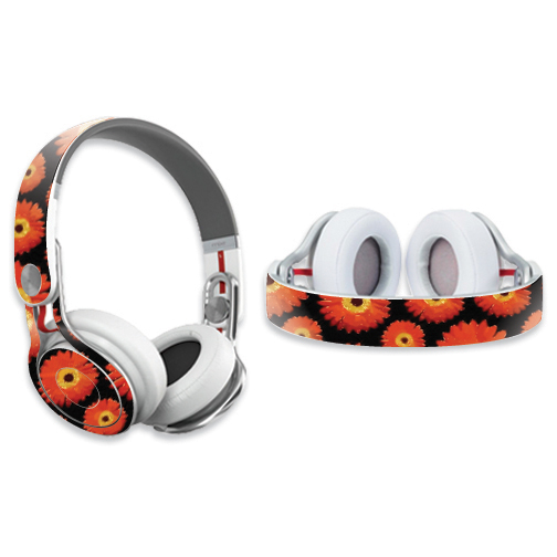 Mightyskins Protective Vinyl Skin Decal Cover for Dr. Dre Beats Mixr Headphones wrap sticker skins Orange Flowers