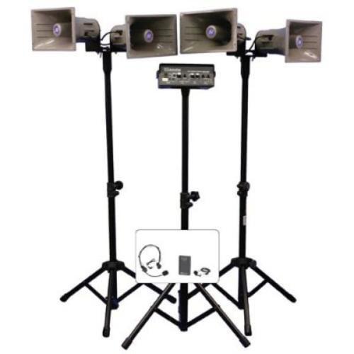 Amplivox SW660 Wl Quad Horn Hailer Kit Wrls Amp Horn Speakers Tripods Case