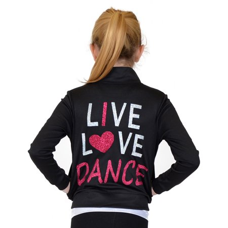 e292cafdfac6 Stretch is Comfort - Girl s Rayon Live Love Dance Warm Up Jacket - X ...