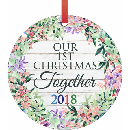 Ornament Newlyweds Our 1st Christmas Together 2018 Semigloss Flat Round Shaped Ornament Xmas Tree Christmas Décor - Christmas Room Décor and Ornament Yard Decorations ()
