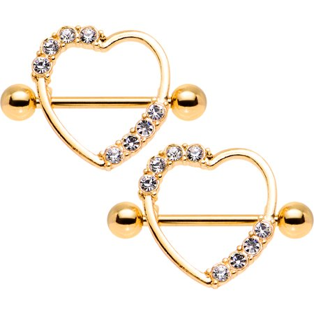 Body Candy Gold Anodized Steel Clear Accent Heart Nipple Shield Set of 2 14 Gauge