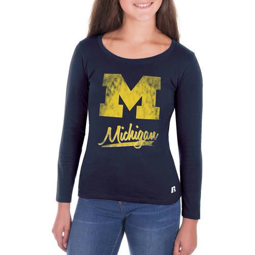 NCAA Michigan Wolverines Girls Long Sleeve Scoop Neck Tee
