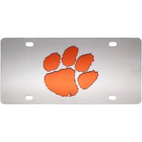 Clemson Tigers Stainless Steel Laser-Cut Acrylic License Plate