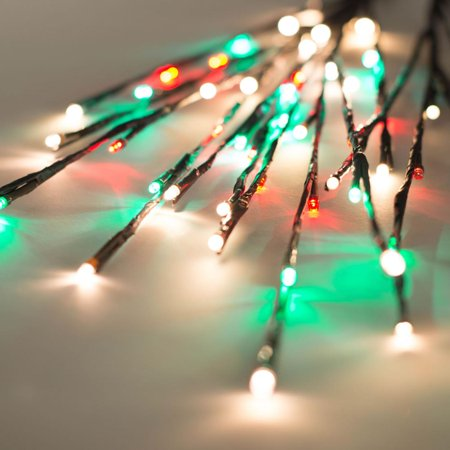 3 piece set red green and warm white led lighted brown christmas twig branches 36