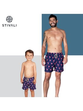 STIVALI Father and Son Matching Swim Trunks (Boy 6, Blue)