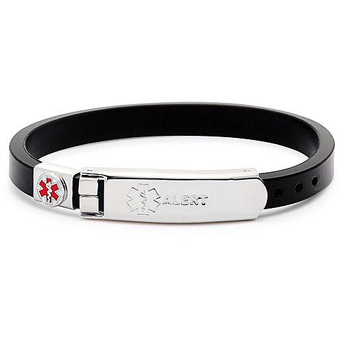 Rubber Bracelet Thin w/Plate- Black