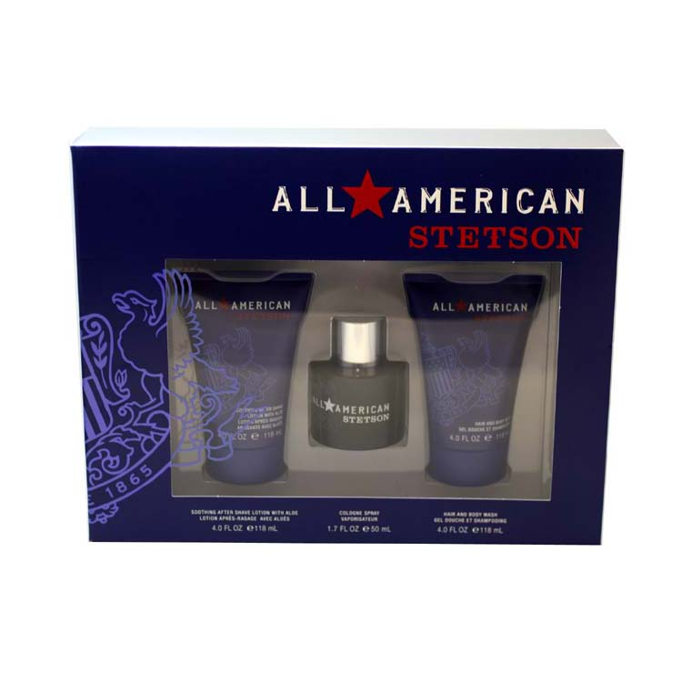 All American Stetson 3 Pc. Gift Set ( Cologne Spray 1.7 Oz + Soothing Aftershave Lotion With Aloe 4.0 Oz + Hair And Body Wash 4.0 Oz ) for Men by Coty